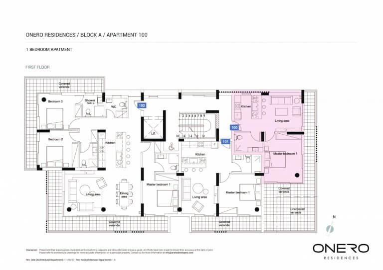 Onero Residences Apt 100 - 1 Bedroom Apartments For Sale in Paphos