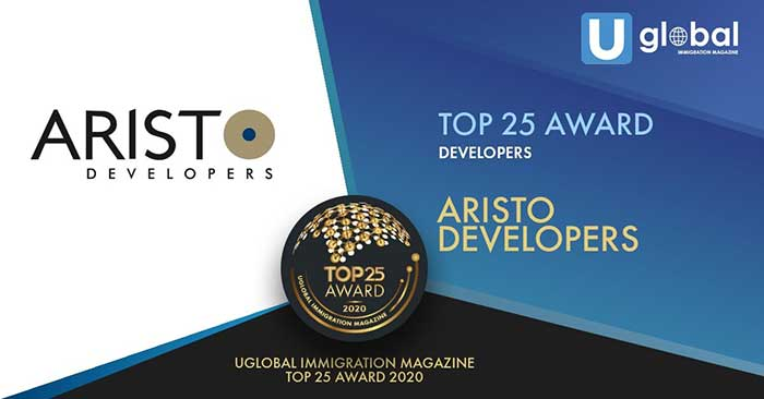 Congratulations to Aristo Developers, award recipient of the Uglobal Immigration Magazine's Top 25 Developers Award